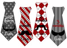 Mustache Boy Tie Baby Month Stickers Personalized (Moustache 1 Tie) - Includes Newborn and XL 12 Month Stickers - Monthly Milestone Stickers on Etsy, $12.95