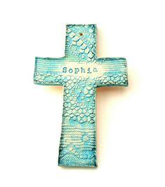 Personalized Baptisim Porcelain Clay Cross