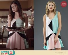 Aria's pastel colorblock dress on Pretty Little Liars.  Outfit Details: http://wornontv.net/36130/ #PLL