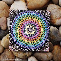 Authentic Aboriginal Dot Art, Acrylic paint on Canvas Board Painting, Rainbow colours, 4 x 4    This is an original artwork hand painted in