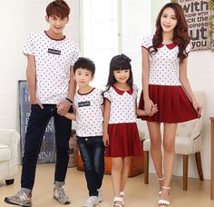 Family Set Dot Print T-shirts & Dress Mother and Daughter Dresses Family Clothes Father and Son T shirts Family Clothing PRO11