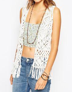 Image 3 of Pepe Jeans Fringe Crochet Knit Waistcoat