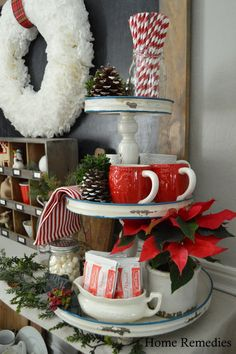 Red and White Christmas Tiered Tray decor : Tiered tray for Christmas Christmas Vignette, Christmas Decorations, a little Christmas cheer in a classic color combination of red, green and white Home and Garden Designs Home_Garden_Designs Christmas Room Des Christmas Kitchen, Christmas Love, Country Christmas, Winter Christmas, Christmas Crafts, Vintage Christmas, Christmas Vignette, Merry Christmas, Christmas Tablescapes