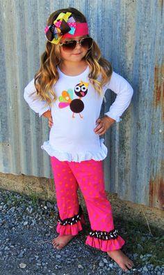Hot Pink & Orange Polka Dot Turkey Outfit