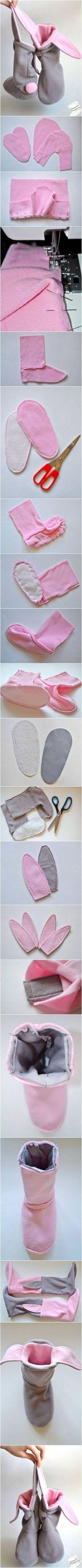 Knitting Patterns For Kids DIY Lovely Bunny Slippers Sewing Slippers, Bunny Slippers, Fabric Crafts, Sewing Crafts, Sewing Projects, Knitting Patterns, Sewing Patterns, Crochet Patterns, Diy Clothing