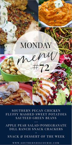 Southern Dishes, Southern Recipes, Southern Food, Southern Comfort, Sauteed Green Beans, Pecan Chicken, Pear Salad, Mashed Sweet Potatoes, Vegetable Side Dishes