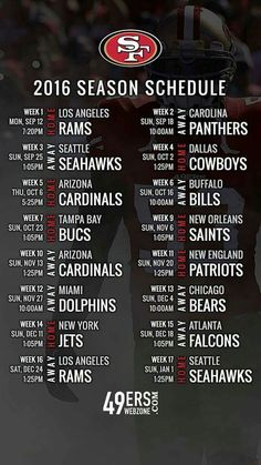 On Thursday night, the San Francisco 2016 regular season schedule was… Niners Girl, Sf Niners, Forty Niners, Nfl 49ers, 49ers Fans, 49ers Schedule, 49ers Quotes, 49ers Nation, Fantasy Football