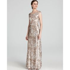 David Meister Gown - Off The Shoulder Floral Sequin ($658) ❤ liked on Polyvore