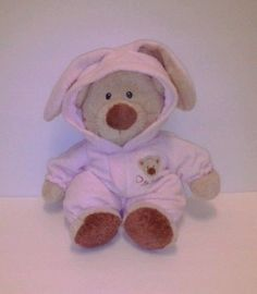 """Baby+Ty+Collection+PJ+Bear+pink+bunny+pajamas+tags+attached+13""""+infant+toy+2005+#Ty"""