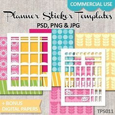 Commercial Use Templates Planner Sticker Erin Condren Life Planner