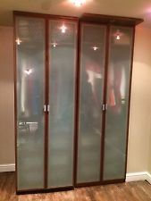 New One Ikea pax wardrobe Dark wood Frosted Glass Drawers included