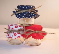 I like the blue with white spots - Summer Wedding Favours Mini Jars Red and Navy Nautical French via Etsy