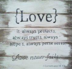 Love scripture sign. $40.00, via Etsy.