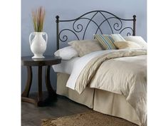 Fashion Bed Group Deland Metal Headboard with Curved Grill Design and Finial Posts, Brown Sparkle Finish, California King B12A17