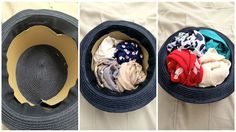 How to pack your hats! Line them, then stuff with clothes so they retain their shape. Great idea! Click to read more secrets to packing like a Pro in the post.