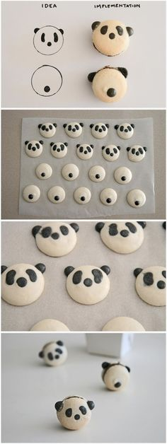Belle's panda bear macarons are just too cute! Cookies and Cream buttercream Kreative Snacks, Kreative Desserts, Cakepops, Patisserie Fine, Cookie Recipes, Dessert Recipes, Macaroon Recipes, How To Make Macarons, Cute Cookies