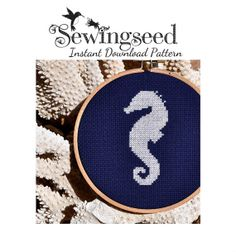 INSTANT DOWNLOAD Seahorse Silhouette Cross Stitch Pattern
