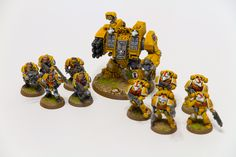 More units added to my Imperial Fists army, with the Ironclad Dreadnaught as the last addition, and a sternguard veteran squad before that.  I think my painting skills are getting back up to speed ... gonna attempt a 10-marine tactical squad next.