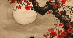 Moonlight on the flowers.  Vintage Japanese Shikishi Art | Tattoo | Pinterest | Japanische Malerei, Japanische und Zeichen