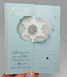 Label Card Thinlits die, Soft Sky cs, Silver Glimmer paper, rhinestones, snowflake emb. folder, Soft Sky ink, Frosted Finishes embellishment, More Merry Messages stamp set, Basic Gray ink
