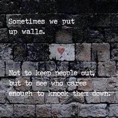I love this quote because it truly represents how humans react in situations. It is common to build a wall to protect yourself after being hurt, and we try to keep everyone out. Those that care do not allow the wall from showing they care. ❤️ so who cares enough to break the wall down?