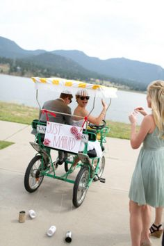 Whimsical Wedding at The Estes Park Resort, Estes Park, CO. The getaway on the bike car!  Photos by Jamie Fischer Photography.