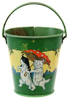 Vintage tin lithographed bucket made by The Ohio Art Company in Bryan, Ohio