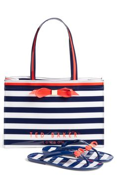 This cute matching set of flip-flops and shopper styled with crisp stripes and color-pop bows channels refreshing nautical style and signature Ted Baker sophistication.