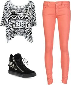Aztec top coral skinny pants. I just wouldn't wear the shoes.