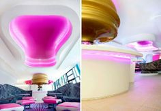 Colorful Bars Interior Design in Futuristic Nhow Hotel Interior Design by Karim Rashid