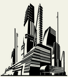 Images of futuristic art deco - Architecture Graphics, Futuristic Architecture, Russian Constructivism, Art Deco, Retro Futuristic, City Landscape, Art Sketchbook, Drawing, Abstract