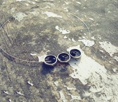 Contemporary necklace brass circles with hematite by ArtikaShop