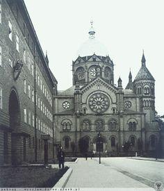 """1929 , Synagoga """" Na Wygonie"""", widok wzdłuż ul. Druckiego-Lubeckiego Ul, Prussia, Bratislava, Barcelona Cathedral, Poland, Photographs, Louvre, History, Places"""