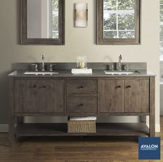 Bathroom vanities provide convenient storage and ideal style for your bathroom #bathroomvanities #bathroomdesign #bathroomstorage #vanities