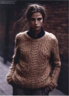 Brushed mohair cable knit jumper. Fisherman's Jumper