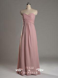 Shirred Strapless Blue A-line Bridesmaid Dress