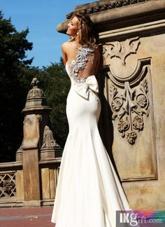 Mermaid One Shoulder Asymmetrical Satin Beaded Bow Embellished Gown