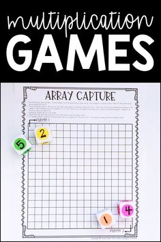 Array Capture is just one of over 20 fun multiplication games math centers to teach students to build fact fluency, practice strategies hands on, and ultimately memorize their multiplication facts! Perfect activities for any and grade classroom! Math Gs, Kindergarten Math Games, 4th Grade Math, Math Classroom, Teaching Math, Math Is Fun, Math Games With Dice, 4th Grade Crafts, Third Grade Math Games