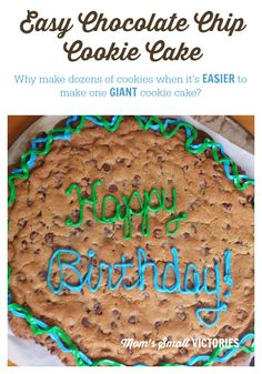Easy Chocolate Chip Cookie Cake. A family favorite for birthdays and holiday celebrations. Why make dozens of chocolate chip cookies when a giant extra chocolately cookie cake is easier!