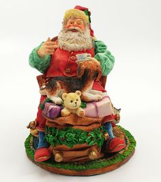 Santa Relaxing in Chair In the Spirit Department 56 Christmas Figurine Cat Dog