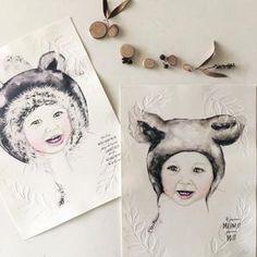 Fine art print One Sonny Day. Australian kids and children's art. Deer ears, custom design, custom portrait. Perfect for wall art, little girls bedroom deco, children kids gifts, christening, baby shower, christmas present. Watercolour, painting, quote