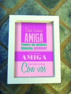 Cuadros Día del Amigo |  Medida 18x24cms | Marco en color blanco o madera natural | I Am Awesome, Friendship, Best Friends, Scrapbook, Memes, Pictures, Queen, Princess, Amor