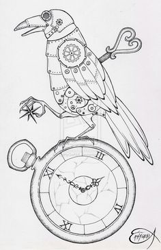 My clockwork raven before the postproduction with photoshop ^__^ here [link] you can find the digital postproduction technique: ink and pencil on paper Steampunk Clockwork Raven WIP Steampunk Drawing, Steampunk Kunst, Steampunk Clock, Clock Drawings, Art Drawings, Colouring Pages, Coloring Books, Steampunk Animals, Illustration