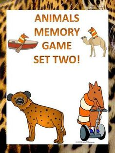 Animals Memory Game Set Two from Donna-Thompson on TeachersNotebook.com -  (13 pages)  - Rules for Animals Memory game:   Use two or three players   Place all thirty-two cards facedown in four rows of eight.  First person turns over two animal cards. If it is a match, player keeps cards a