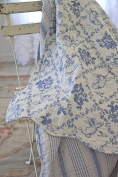 Romantic Provencal Lap Quilt...French Cherubs In Blue
