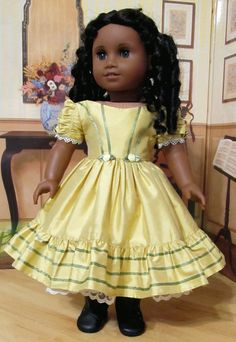 Silk Gown with ribbon trim and ruching on sleeves by Keepersdollyduds… American Doll Clothes, Ag Doll Clothes, Doll Clothes Patterns, Clothing Patterns, Doll Patterns, Ag Clothing, Historical Clothing, Girl Dolls, Ag Dolls