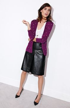 Halogen& Merino Wool Cardigan, Tee & Leather A-Line Skirt A Line Skirt Outfits, A Line Skirts, V Neck Cardigan, Wool Cardigan, Leather A Line Skirt, Classic Outfits, Classic Clothes, Contemporary Fashion, Casual Chic
