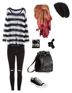 """""""Untitled #5437"""" by northamster ❤ liked on Polyvore featuring River Island, David & Young, H&M, Converse and Chanel"""