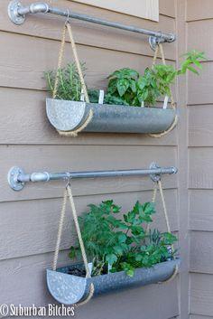 DIY hanging herb garden using @west elm galvanized planters | Suburban Bitches