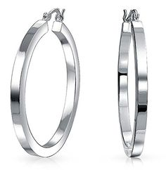bb3ae3c13d Simple Large Round Polished Finish Flat Square Tube Hoop Earrings 925  Sterling Silver Hinged Notched Post